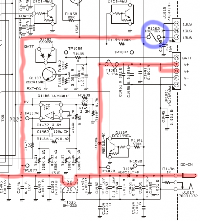Location of F1002 in the schematic